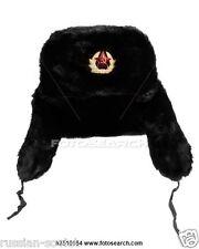 RUSSIAN SOVIET USSR ARMY FUR HAT + BADGE CLASSIC BLACK USHANKA COLD WAR SIZE 61