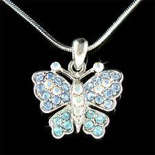 w Swarovski Crystal Bridal Wedding Something Blue AB ~BUTTERFLY Pendant Necklace