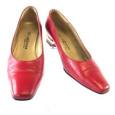 St. John Women's Classic Pumps Red Leather Brass Heel Logo 7AA