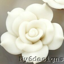 Handmade Beige Cream White Soft Porcelain Flower Rose Pendant Bead 40mm(APD03)a