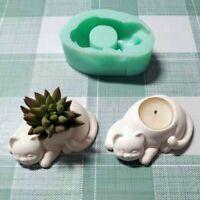 Cat Shape Flower Pot Mold Concrete Pot Silicone Candle Holder Planter Mould