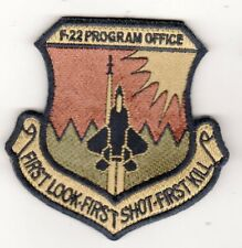 USAF PATCH AIR FORCE F – 22 PROGRAM OFFICE WRIGHT-PATTERSON AFB OCP W/VELCROW