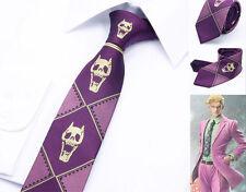 Killer Queen Skulls Purple Necktie Jojo's Bizarre Adventure Silk Tie Kira Door