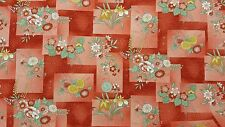 Kona Bay Asian Fabric 2007 Metallic BTY Coral FLORAL Flower GOLD Red Iris COTTON