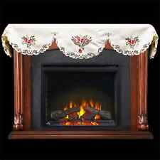 """Beautiful Red Rose on Cream Mantle Scarf 19"""" X 90"""""""