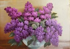 Vintage oil painting still life lilac flowers
