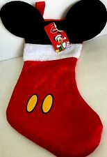 """Disney Mouse Ears 18"""" Christmas Stocking with Plush Cuff Mickey velour brand 1"""