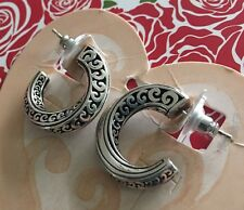 Brighton Silver ECSTATIC HEART post HOOP Earrings NWT