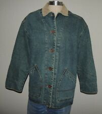 WOMENS MEDIUM - CRAZY HORSE LINED  COTTON DENIM JEAN JACKET COAT