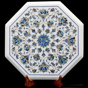 Marble Inlay table Top Inlaid With Semi-Precious Gems Stone Side & Coffee Table