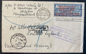 1932 St Johns Newfoundland DOX First Flight Cover to London England Sc#C12