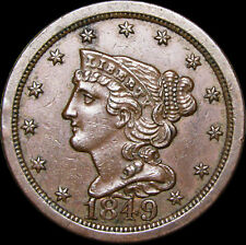 1849 Braided Hair Half Cent 1/2 Penny   ---- Stunning Condition Type  ---- #F453