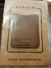 COACH Leather Phone Wallet ID Sticker Dark Saddle Brown NEW in Package