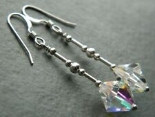 Vintage Aurora Borealis AB Faceted Glass Crystals & 925 Sterling Silver Earrings
