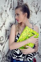 ZATCHELS NEON YELLOW FLORAL LEATHER TRADITIONAL BRITISH SCHOOL SATCHEL BAG £129