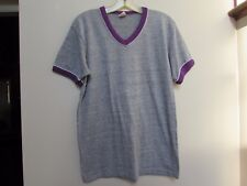 Vintage RUSSELL Athletic Tri Blend Ringer Gray V-Neck T-shirt Purple Size M