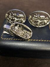 Vintage Cufflinks And Tie Clip Silver Tone By Shields Fifth Avenue, Original Box