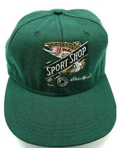 EDDIE BAUER hat vintage green adjustable cap Sport Shop Wide Brim - USA Made!