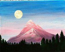 """Solitude"" Original Acrylic Painting Medium Signed Mountain Moon Landscape"