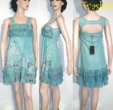 SAVE THE QUEEN delicate L silk Chiffon AQUA LACE ruffle detail dress NWT Authent