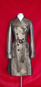 Burberry Bronze Metallic Quilted Double Breasted Trench Coat Size 6