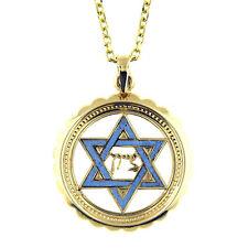 14 KT YELLOW GOLD BLUE ENAMEL STAR OF DAVID PENDANT