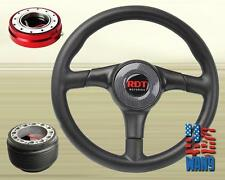 Carbon Type PV Leather Steering Wheel+Red Release+Hub for Acura Integra GSR DC2