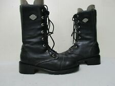 Harley Davidson Flare Black Leather Lace Zip Biker Boots Size 5.5 Style 85022