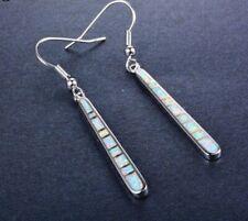 Beautiful 925 Sterling Silver White Fire Opal Amulet Long Line Hook Earrings