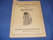 1946 Directions Dayton Model 6000 Deep Well Pump Dayton Ohio Parts List / b5