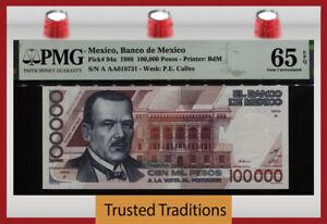 TT PK 94a 1988 MEXICO BANCO 100000 PESOS P.E. CALLES PMG 65 EPQ GEM UNCIRCULATED