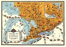 c1930 Antique ONTARIO Canada Map Vintage Animated Cartoon Map of Ontario 5860