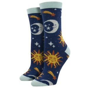 Socksmith Women's Bamboo Crew Socks Clear Skies Suns and Moons Novelty Footwear