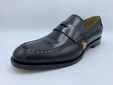 $1,000 Gucci Classic Black Leather Penny Loafers Size US 17 Made In Italy