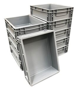10 x 10 Litre Heavy Duty Plastic Stacking Euro Storage Containers Boxes Crates