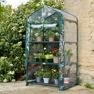 3/4 Tier Mini Greenhouse PVC Plastic Garden Steel Frame Plants Grow House UK