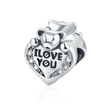 925 Sterling Silver Heart European Bead Teddy Bear Charm For European Bracelets