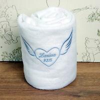 Personalised Embroidered Baby Fleece Blanket Christening Girls Boys Angel Wings