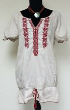 Nine West Vintage American Collection VAC BOHO Embroidered Shirt Tunic Top