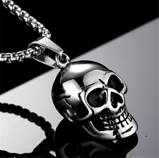 Men's Fashion 316L Stainless Steel Skull Pendant Personality Charm Punk Necklace