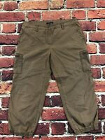 Eileen Fisher Cropped Cotton Lyocell Cargo Capri Pants Faded Brown Petite Medium