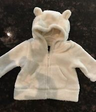 BABY GAP BABY BOY GIRL WHITE FLUFFY FUR SWEATER JACKET SIZE 0-3 MONTHS BEAR EARS