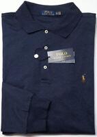 NEW $125 Polo Ralph Lauren Long Sleeve Navy Blue Shirt Mens Big Cotton Heather