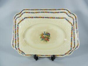 Antique Art Deco Set of 3 Crown Ducal Gainsborough Serving Platters Plates Dish