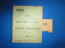 N°117 / RICHIER : rouleau compresseur type RT 8  : piéces de rechange 1969