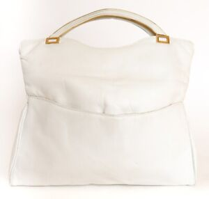 Tote / Clutch Bag- 2-Way - Vintage - Ivory White FAUX Leather - 1980s - Medium