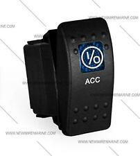 Labeled Marine Contura II Rocker Switch Carling, lighted - ACC (BLUE lens)