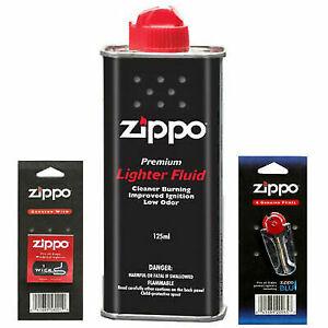 Original Zippo Lighter Fuel Fluid Petrol Flint Wicks uk mainland shipping only