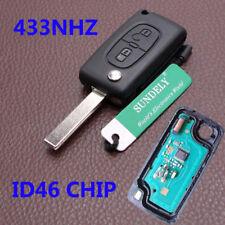 For Peugeot 207 307 308 407 2 Button Remote Alarm Flip Key Fob 433MHz ID46 K15