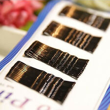 60 Pack Simple Bobby Kirby Pins Black Hair Grips Clips Clamps Salon Waved Slides
